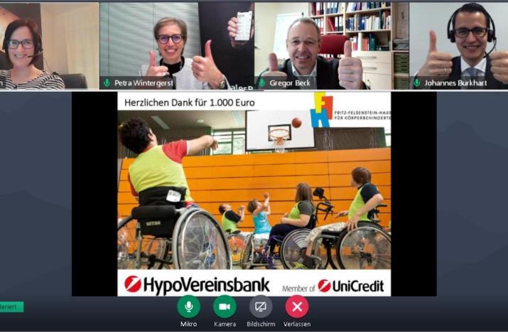 Virtuelle Spendenübergabe im Fritz-Felsenstein-Haus