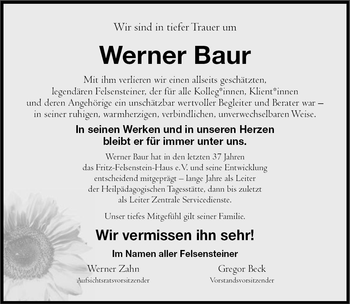 Unser langjäriger Kollege Werner Baur ist verstorben