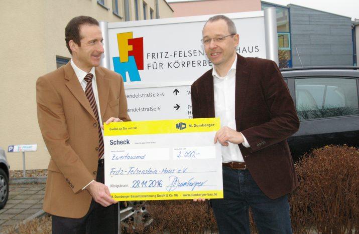 Bauunternehmung Dumberger spendet  2000,- Euro an Felsensteiner